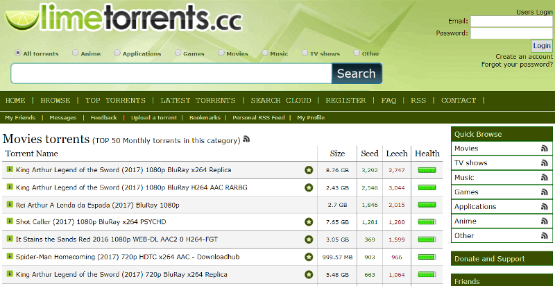 Limetorrents - best torrent sites top torrenting sites